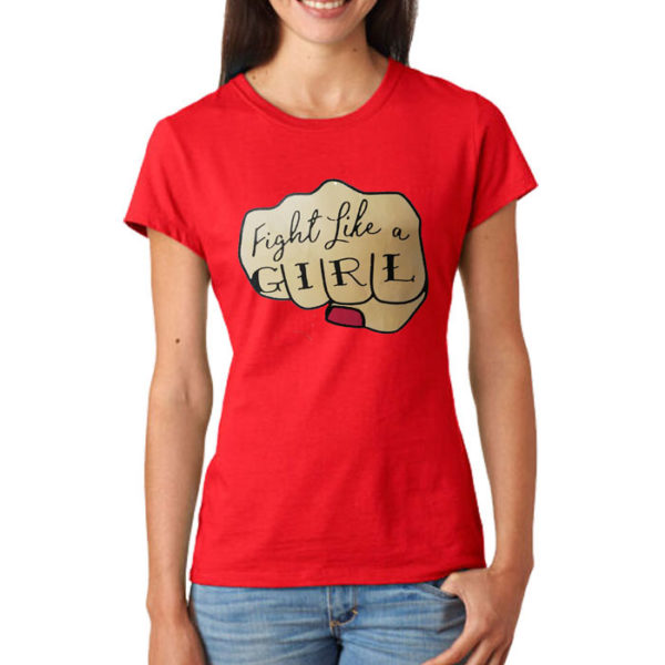 Fight Like A Girl Printed T-Shirt In Red