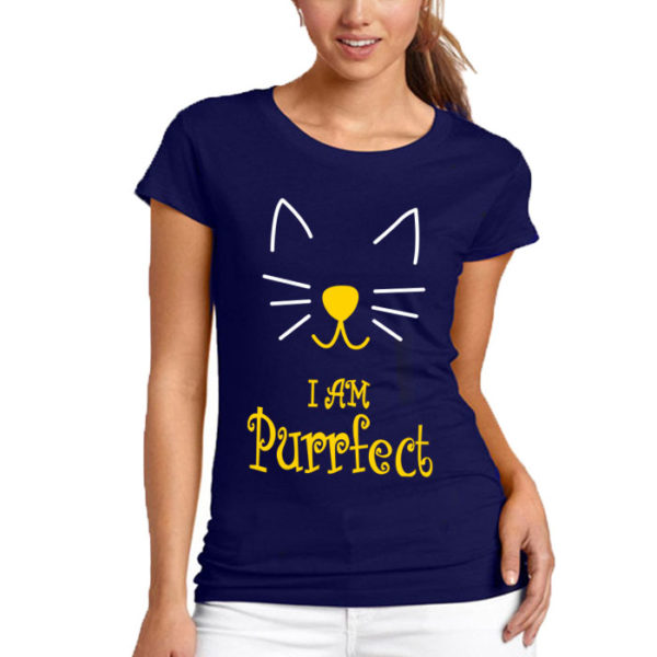 I Am Perfect Printed T-Shirt In Blue