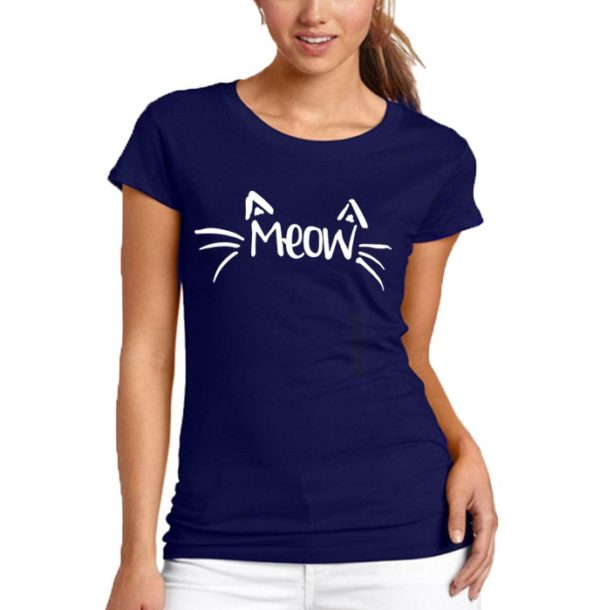Meow Printed T-Shirt In Blue