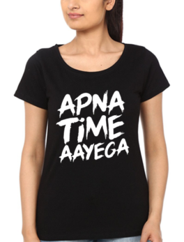 Apna Time Aayega Printed T-Shirt In Black