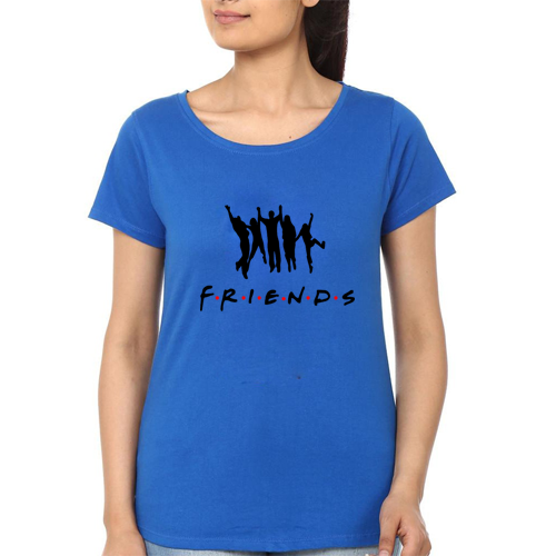 Friends Printed T-Shirt In Royal Blue