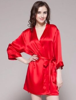 Night Gown Ivory 100% Polyester Satin Silk Gwn-11 Rd In Red
