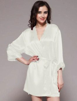 night gown ivory 100% polyester satin gwn-11-iv in white